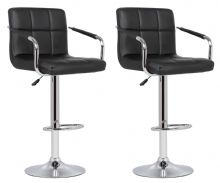Pair of 2 Milan Black Faux Leather Padded Seat Bar Stools  With Arms 1/2 Price Deal